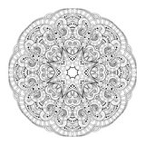 Vector Beautiful Deco Monochrome Contour Mandala Royalty Free Stock Image