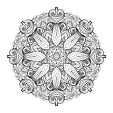 Vector Beautiful Deco Monochrome Contour Mandala Royalty Free Stock Photos