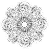 Vector Beautiful Deco Monochrome Contour Mandala Royalty Free Stock Photo