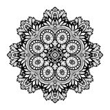 Vector Beautiful Deco Monochrome Contour Mandala Royalty Free Stock Photos