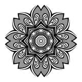 Vector Beautiful Deco Monochrome Contour Mandala Stock Photos