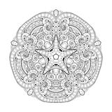 Vector Beautiful Deco Monochrome Contour Star, Patterned Design Element. Original Mandala with 5 Corners. Exotic Sea Fauna stock illustration