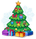 Vector beautiful decorated christmas tree with presents. Vector Hand drawn christmas tree with presents Royalty Free Stock Photo