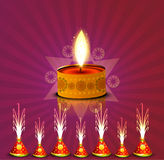 Vector beautiful diwali diya colorful celebration crackers Royalty Free Stock Photography