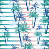Vector Beautiful exotic tropical summer pattern with palm trees Royalty Free Stock Photo