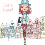 Vector beautiful fashion girl in Bruges Royalty Free Stock Image
