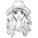 Vector beautiful fashion girl in hat Royalty Free Stock Image