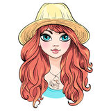 Vector beautiful fashion girl in hat Royalty Free Stock Photos