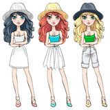 Vector beautiful fashion girl in hat Stock Photography