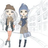Vector beautiful fashion girl in old town Stock Photo