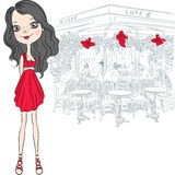 Vector beautiful fashion girl in Paris Stock Photography