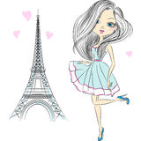 Vector beautiful fashion girl in Paris Stock Images