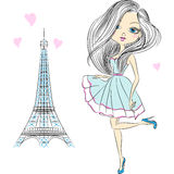 Vector beautiful fashion girl in Paris Stock Photo