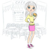 Vector beautiful fashion girl with popcorn Royalty Free Stock Photography
