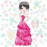 Vector Beautiful Fashion Girl Princess Royalty Free Stock Image