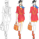 Vector beautiful fashion girl top model in hat and. Set beautiful fashion girl top model in three versions: the first - a sketch, the second - simple colors, the stock illustration