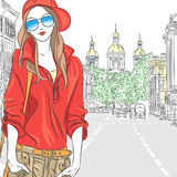 Vector beautiful fashion girl top model on the str Stock Image