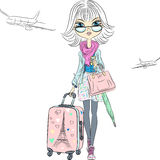 Vector beautiful fashion girl travels the world Stock Images