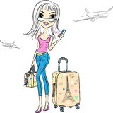 Vector beautiful fashion girl travels the world Stock Photos