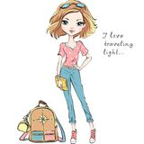 Vector beautiful fashion girl travels the world. Vector beautiful fashion girl in summer clothes with backpack and clutch bag vector illustration