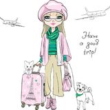 Vector beautiful fashion girl travels the world. Vector beautiful fashion girl in winter clothes with suitcases, cute dog and cat travel the world on airplanes vector illustration