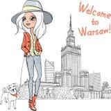 Vector beautiful fashion girl in Warsaw Stock Image