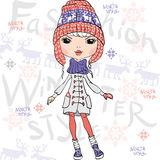 Vector beautiful fashion girl in winter Stock Image