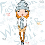 Vector beautiful fashion girl in winter Stock Images