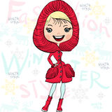 Vector beautiful fashion girl in winter. Vector fashionable hipster girl in a red fur coat, boots and hood in winter Stock Photos