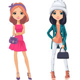 Vector beautiful fashion girls Royalty Free Stock Photos