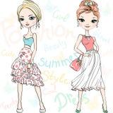 Vector Beautiful Fashion Girls Top Models Stock Photography
