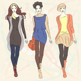 Vector beautiful fashion girls top models Royalty Free Stock Photos