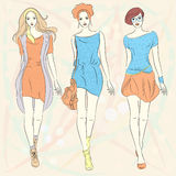 Vector beautiful fashion girls top models in dress Stock Image