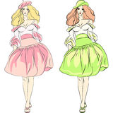 Vector beautiful fashion girls top models in dress Royalty Free Stock Photography