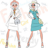 Vector beautiful fashion girls top models Stock Image