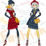 Vector beautiful fashion girls top models Royalty Free Stock Photo