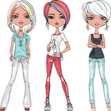 Vector beautiful fashion girls top models Royalty Free Stock Photography