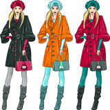 Vector beautiful fashion girls top models Royalty Free Stock Image