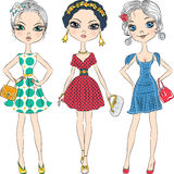 Vector beautiful fashion girls top models Royalty Free Stock Images