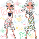 Vector beautiful fashion girls top models Stock Images