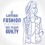 Vector beautiful fashion hipster girl dressed in denim sleeveless Royalty Free Stock Photography