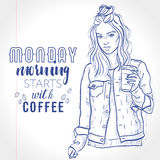 Vector beautiful fashion hipster girl holds coffee cup Stock Images