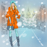 Vector beautiful fashionable girl on the avenue Stock Photography