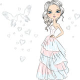 Vector Beautiful fashionable girl bride. Beautiful fashionable girl bride in her wedding dress Royalty Free Stock Image
