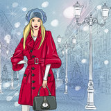 Vector beautiful fashionable girl on the Christmas Stock Image