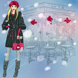 Vector beautiful fashionable girl near the Christm Stock Images