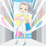 Vector beautiful fashionable girl shopping Royalty Free Stock Image