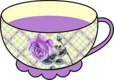 Vector beautiful floral rose cup of tea. Royalty Free Stock Photo