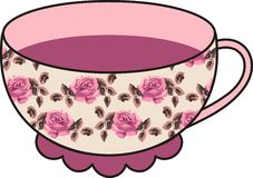 Vector beautiful floral rose cup of tea. Stock Image