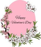 Vector beautiful flower card Happy Valentine`s Day vector illustration